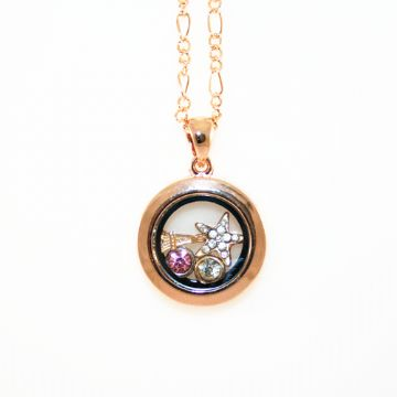 25mm living memory floating charm locket - champagne colour